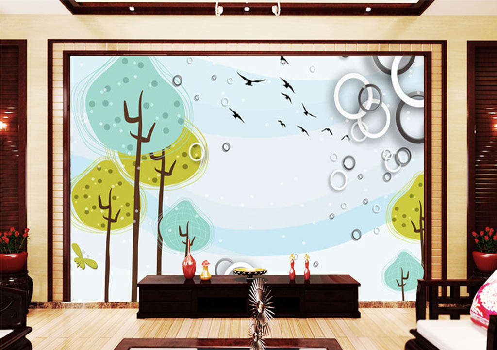 Giallo Leaves,blu Sky Sky Sky 3D Full Wall Mural Photo Wallpaper Print Home Kids Decor 80e635