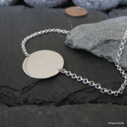 Erbsarmband mit 1,8 cm Gravurplatte in 925er Silber mit Gravur GA-07 19 cm