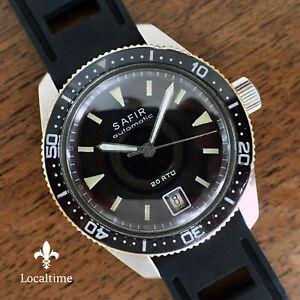 Mid-1960-039-s-SAFIR-Swiss-Steel-Vintage-20ATM-Diver-Watch-Automatic-ETA-Cal-2472