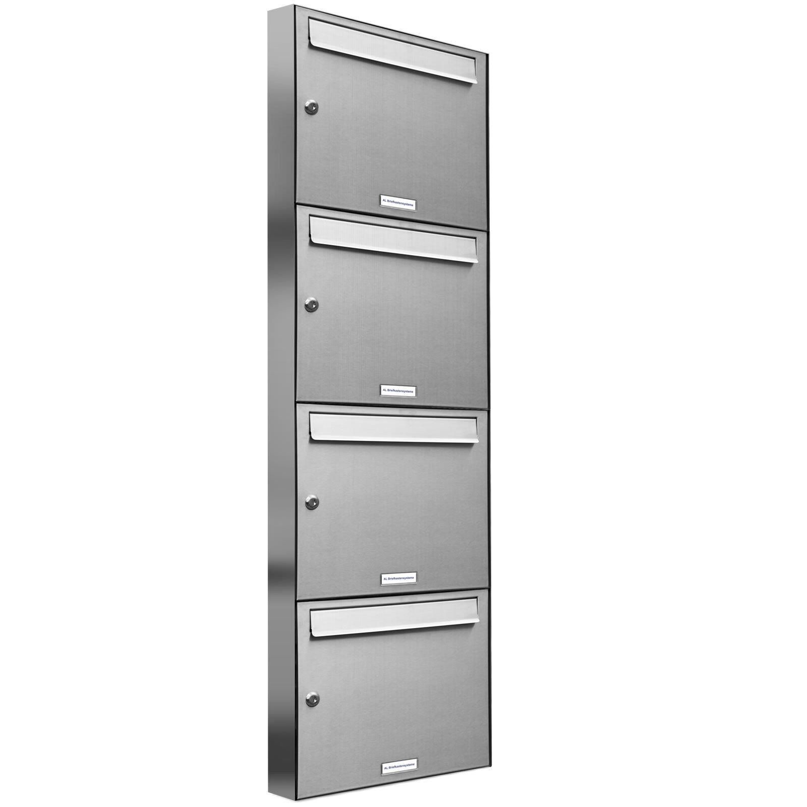 4er Premium V2A Edelstahl Briefkasten Anlage 4 Fach A4 Wandmontage A4 Postkasten