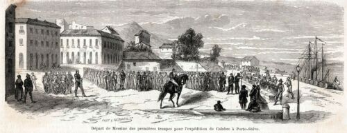 Partenza delle prime truppe per la Calabria a Porto Salvo Sicilia.1860 Messina