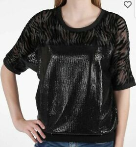 Miss-Me-Women-039-s-Top-Size-L-Black-Sequins-Batwing-Sleeves-Animal-Print