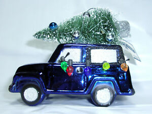 Christmas Jeep.Details About 4 Shatterproof Ornament Blue Glitter Suv Jeep Christmas Lights Flocked Tree