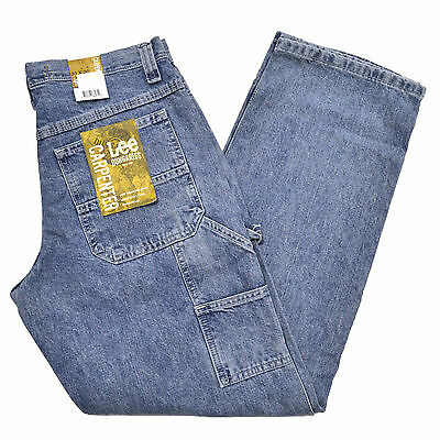 Lee Jeans Mens Dungarees Carpenter Straight Leg Pant Denim Trousers Stonewashed