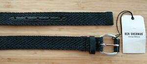 Ben-Sherman-Men-039-s-Cotton-Woven-Cord-Belt-Graphite-grey-dark-grey-Medium-New