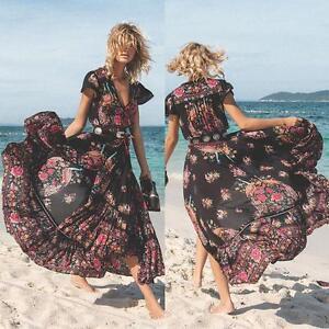 Womens-Summer-Vintage-Boho-Long-Maxi-Party-Beach-Evening-Floral-Dress-UK-8-24