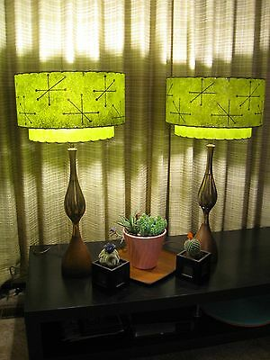 Vintage mid century lamps collection on ebay pair of mid century vintage style 2 tier fiberglass lamp shades starburst o2i mozeypictures Gallery