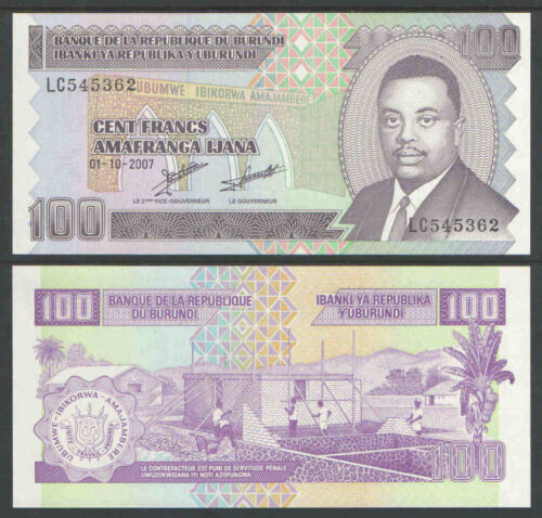 BURUNDI 2007 100 FRANCS Cat # P37f UNCIRCULATED
