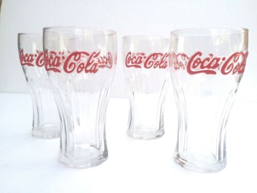 X 4 Glasses 16 oz Vintage Style Genuine Classic Coca Cola Glass Red Lettering