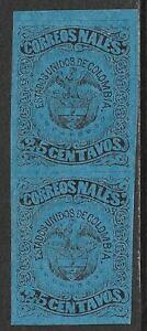 Colombia stamps 1870 YV 53 vertical PAIR UNG VF