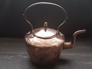 Details About Antique Copper And Brass Kettle Kitchen Tea Pot Victorian