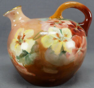 Count-Thun-Hand-Painted-Nasturtium-Flowers-Fall-Colors-Whiskey-Jug-C-1918-1939
