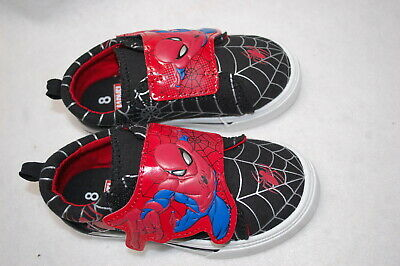 Toddler Boys Canvas Shoes Spiderman Black Red Easy Fasten Web Design Size 13 Ebay