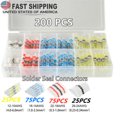 200pcs Solder Seal Sleeve Terminals 22 10 Awg Heat Shrink Buttconncetors Kit