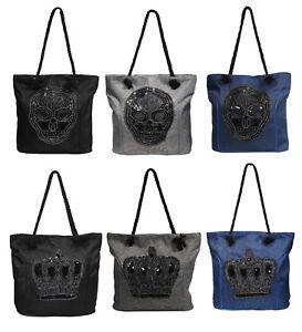 Damentasche Shopper Skull Krone Totenkopf Canvas Tasche Kordelgarn Pailletten Herausragende Eigenschaften