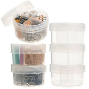 6pk-Plastic-Storage-Containers-With-Dividers-Lids-Craft-Organizer-Desk-Organizer