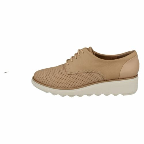 LADIES CLARKS BLUSH NUBUCK LACE UP SOFT TRAINERS SHOES SIZE SHARON CRYSTAL