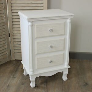 White wood 3 drawer bedside table chest shabby vintage White shabby chic bedroom furniture