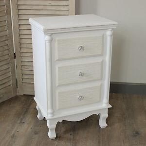 Legno bianco a 3 cassetti comodino shabby chic vintage mobili camera da letto  eBay