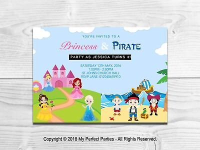Personalised Princess And Pirate Childrens Birthday Party Invitations