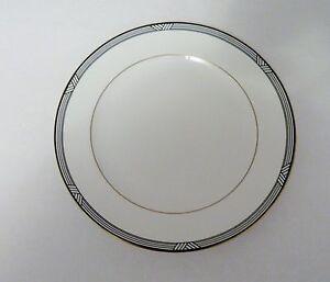 Christopher-Stuart-Bone-China-Y1011-Empire-House-Salad-Plate-White-w-Black-Gold