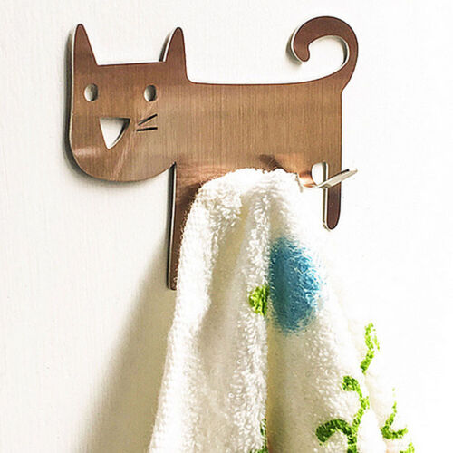 Kitchen Bathroom Stainless Steel Cat-Shaped Adhesive Wall Hook Keys Hanger Well