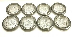 Set 8 Heavy Glass & Pewter Coaster Set Classic Snowflake Design Elegant Barware