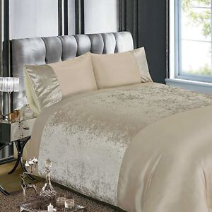 Crushed Velvet Natural Cream King Size Duvet Cover Set