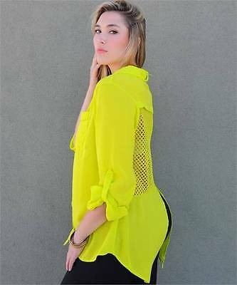 Fall trendy long sleeve button up feat a sheer mesh back Neon Yellow** PLUS SIZE