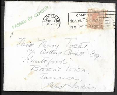 Kgv1 1940 Censored Cover To Jamaica Few Examples Exist Recorded With The Best Service Bahamas