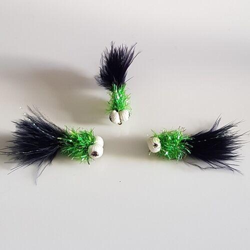 3 Lime Fritz Black Marabou Bobbies # 10s FB011