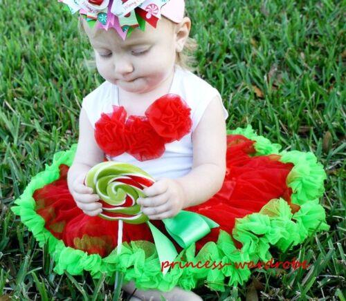 Newborn Baby Red Green Pettiskirt Red Rose Top 3-12Ms