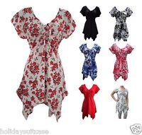 Plus size 16-34 UK Ladies woman's sexy hanky hem gypsy boho summer tie dye top