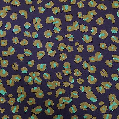 """PA043 - 1m Purple Viscose Fabric w/ Green Animal Spot Pattern - 165cm / 65"""" Wide"""