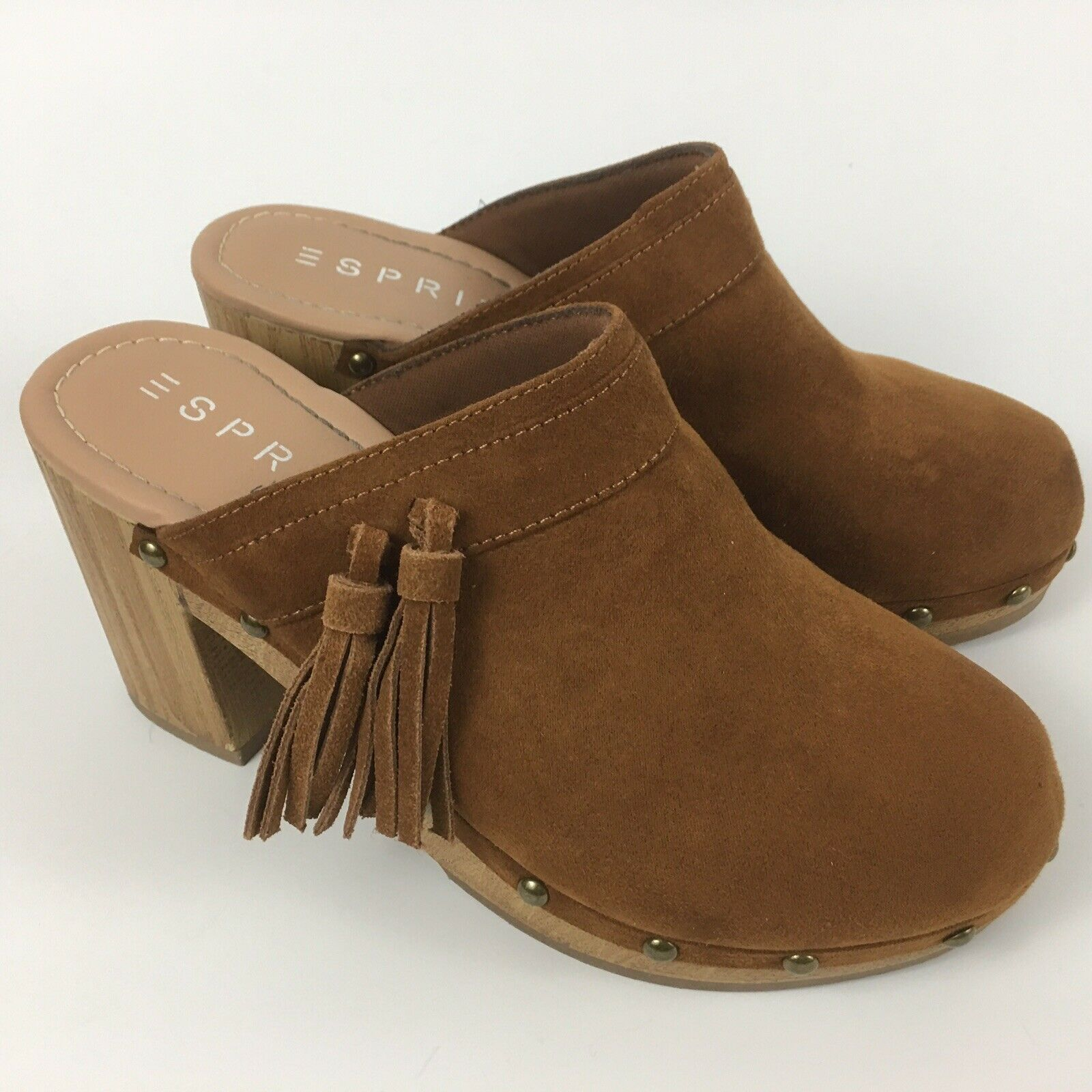 Esprit Womens Slip On Clogs Mules Size 6.5 Sam Brown Walnut Suede shoes Tassels
