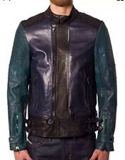 $1,695 NWT DIESEL BLACK GOLD LIMOTEO Blue Green Black Leather Jacket Men's L 52