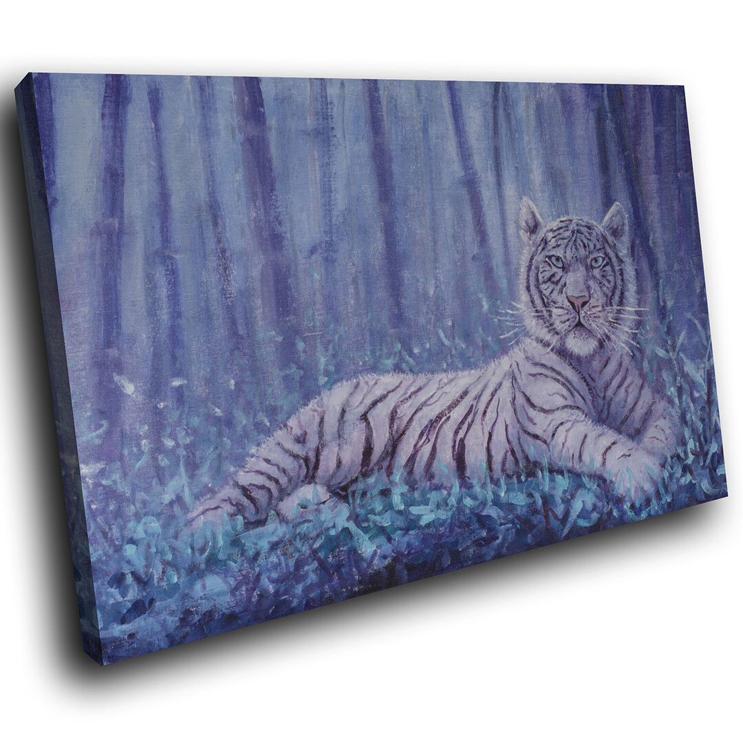 A794 Weiß Tiger Dark Forest Funky Animal Canvas Wall Art Large Picture Prints