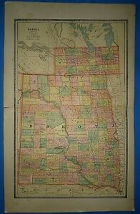 Details about Vintage Circa 1885 DAKOTA FRONTIER TERRITORY MAP Old Antique  Original FREE S&H