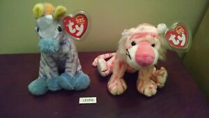 9f090d22866 2 lot MYSTIQUE tiger   VEGA zebra Circus Series Ty BEANIE BABY new ...