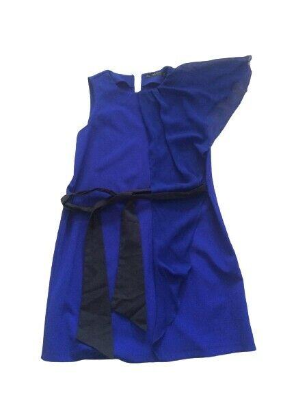 Zara * VESTIDO Schulter Kleid + Gürtel * Blau-Schwarz * Gr.158/13 J...