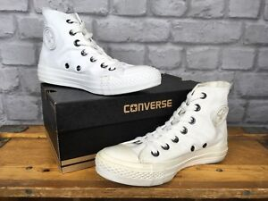 080ecca2b51 CONVERSE UK 3-12 WHITE MONO CHUCK TAYLOR ALL STAR HI TOP TRAINERS ...
