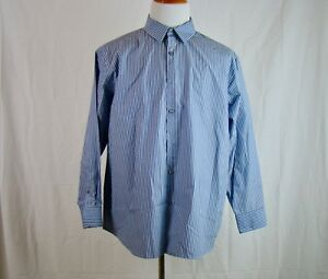 Perry-Ellis-Portfolio-Men-039-s-Long-Sleeve-Cotton-Shirt-Blue-Stripes-Size-XL