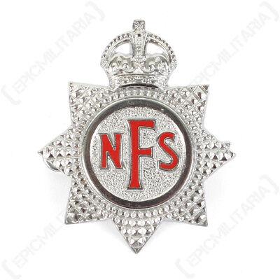 Vintage Kings Brigade Silver NFS Pin Original National Fire Service Cap Badge