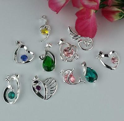 Wholesale 5pcs 925 Sterling Silver Mixed Color Crystal Necklace Charm Pendant IV