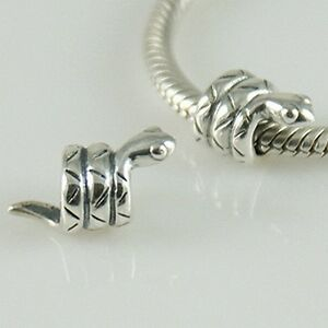 SNAKE-Serpent-Animal-Genuine-Solid-925-sterling-silver-European-charm-bead