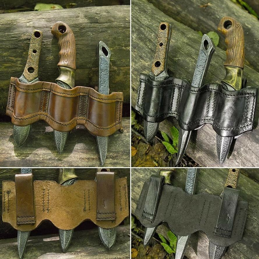 Foam Latex, Bendable Rogue Knife Set and Holder. For Costume or LARP