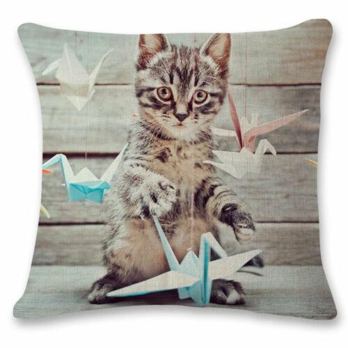 Decor Throw Case Cotton Cat Pillowcases Pillow Cushion Cover Animals Linen Car