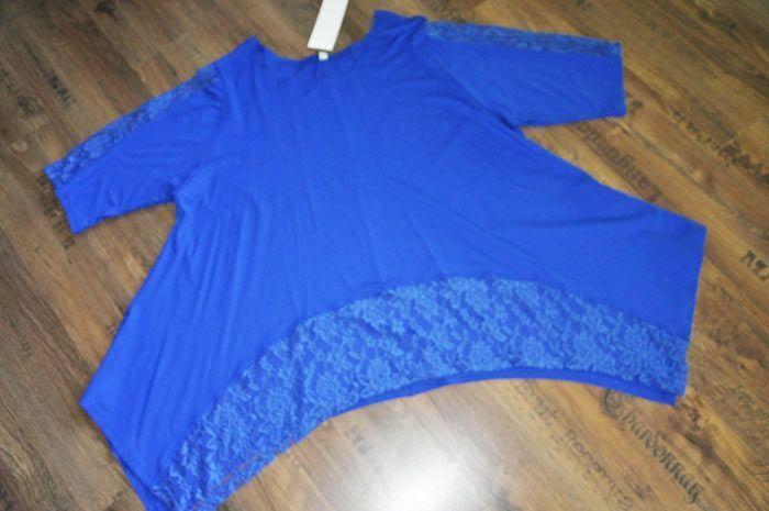 Lagenlook A-Linie-OverGröße-Zipfel-Tunika Jersey+Spitze royal-blau XL,XXL,XXXL