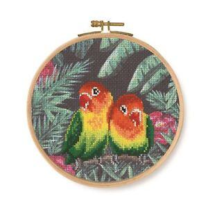DMC-tropical-pajaros-y-mariposas-impresas-Cross-Stitch-Kit-Amor-Aves
