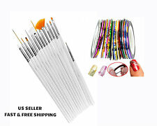 15 Nail Brushes&10 Color/Rolls Nail Striping Tape Line Sticker Tip Nail Art Tool